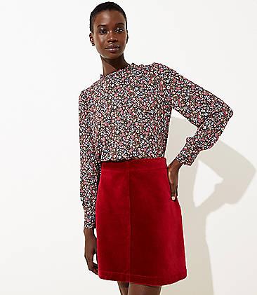 로프트 LOFT Corduroy Shift Skirt,Royal Ruby