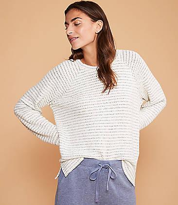 로프트 LOFT Lou & Grey Stitchstripe Sweatshirt,Soft Oat