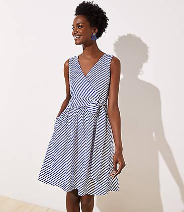 로프트 LOFT Striped Flare Wrap Dress,White