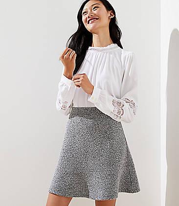 로프트 LOFT Boucle Knit Flippy Skirt,Grey Multi