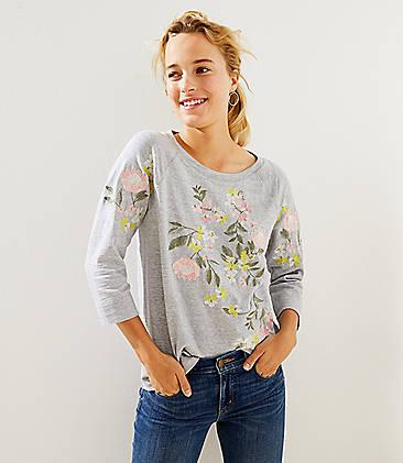 로프트 LOFT Floral Embroidered Sweatshirt,Gentle Grey Heather