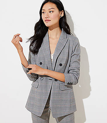 로프트 LOFT Plaid Long Double Breasted Blazer,Black/White Multi