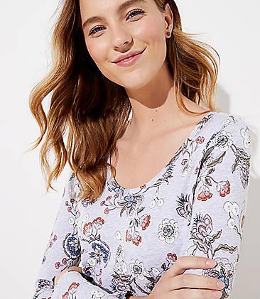 로프트 LOFT Floral Long Sleeve Shirttail Tee,Icy Grey Heather