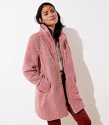 로프트 플리스 퍼넬넥 코트 - 핑크 LOFT Fleece Funnel Neck Coat,Whipped Pink