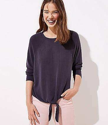 로프트 LOFT Tie Hem Sweatshirt,Gravel Grey