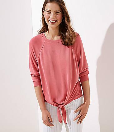 로프트 LOFT Tie Hem Sweatshirt,Watermelon Breeze