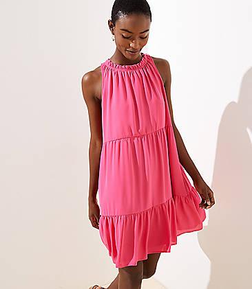 로프트 LOFT Tiered Swing Pocket Dress,Fuchsia Rose
