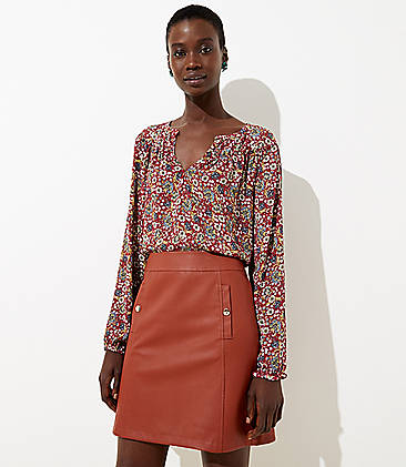 로프트 스커트 LOFT Faux Leather Pocket Skirt,Rust