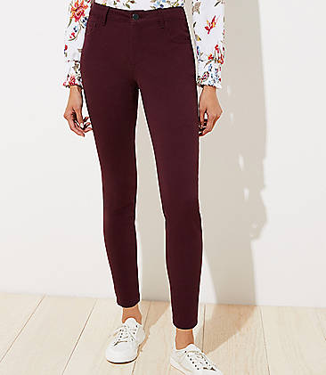 로프트 LOFT 5 Pocket Sateen Leggings in Curvy Fit,Ultra Plum