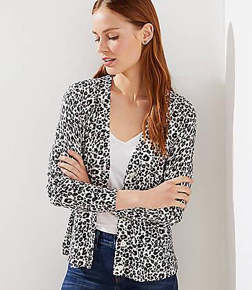 로프트 LOFT Leopard Print Signature V-Neck Cardigan,Black/White Multi