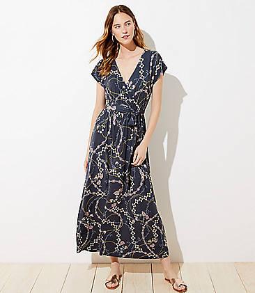 로프트 LOFT Flower Chain Wrap Maxi Dress,Coastal Grey
