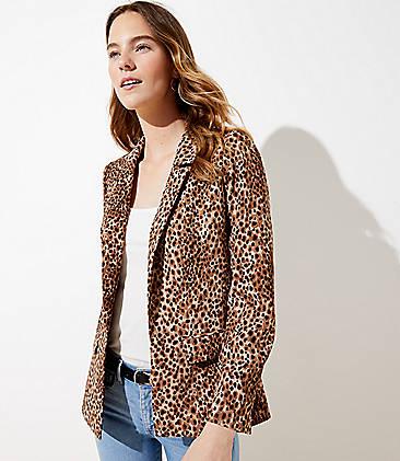 로프트 LOFT Leopard Print Open Blazer,Black