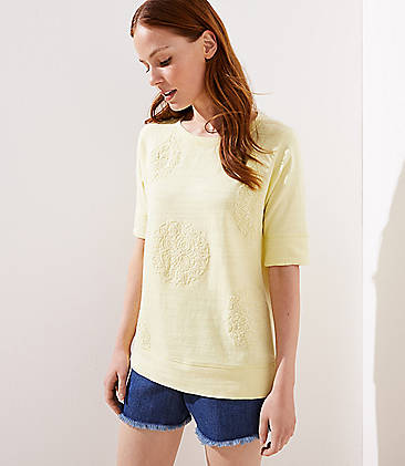 로프트 LOFT Applique Sweatshirt Tee,Lemon Lime