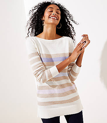 로프트 스웨터 LOFT Striped Boatneck Tunic Sweater,Neutral Stripe