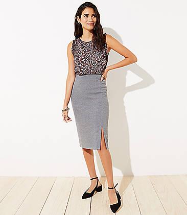 로프트 LOFT Slit Pull On Pencil Skirt,Grey Melange