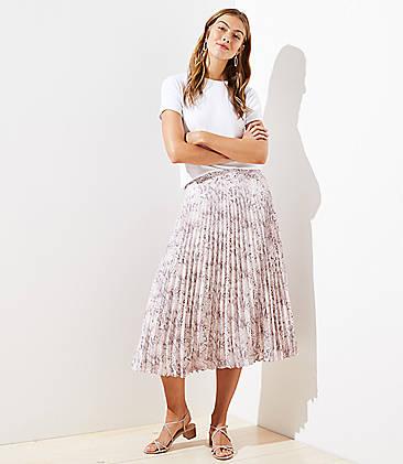 로프트 LOFT Snake Print Pleated Skirt,Whisper White