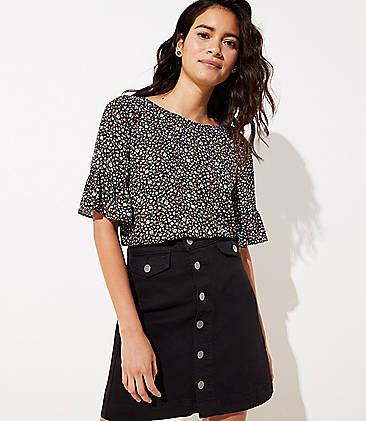 로프트 LOFT Denim Button Front Pocket Skirt,Black