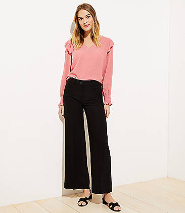 로프트 와이드핏 팬츠 LOFT High Waist Wide Leg Pants,Black