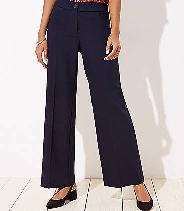 로프트 와이드핏 팬츠 LOFT High Waist Wide Leg Trousers in Curvy Fit