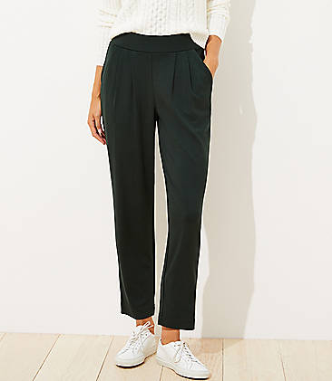 로프트 LOFT Tapered Pull On Ponte Pants,Dark Thicket Green