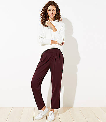 로프트 LOFT Tapered Pull On Ponte Pants,Classic Plum