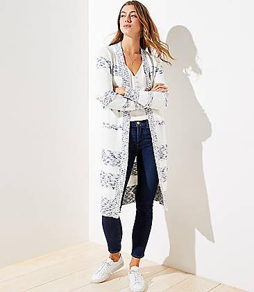로프트 LOFT Striped Duster Sweater,Blue White Stripe