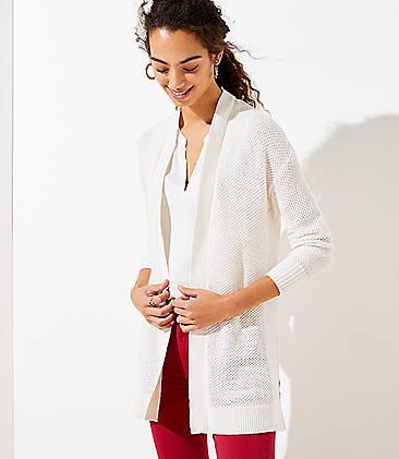 로프트 LOFT Textured Open Cardigan,Whisper White