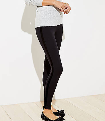 로프트 LOFT Velvet Side Stripe Leggings,Black