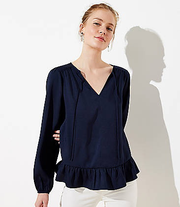 로프트 LOFT Split Neck Ruffle Blouse,Forever Navy