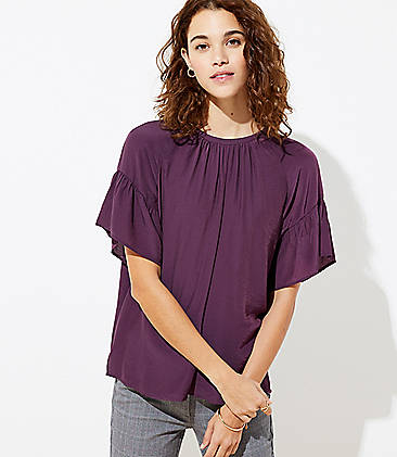 로프트 LOFT Striped Tie Back Top,Victorian Violet