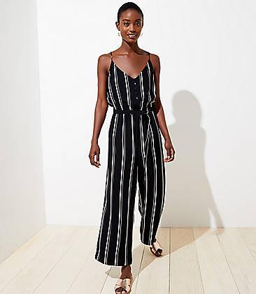 로프트 LOFT Striped Strappy Wide Leg Jumpsuit,Black