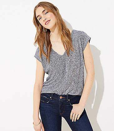 로프트 LOFT Striped Dolman V-Neck Tee