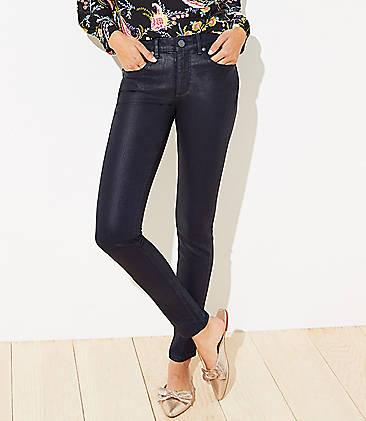 로프트 LOFT Coated Slim Pocket Skinny Jeans,Indigo Seas