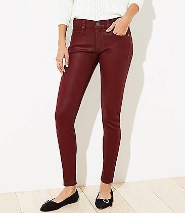 로프트 LOFT Coated Slim Pocket Skinny Jeans,Tibetan Red