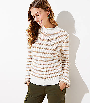 로프트 스웨터 LOFT Striped Flare Sleeve Sweater,Neutral Stripe