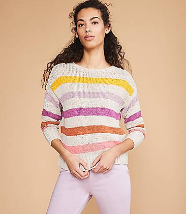 로프트 스웨터 LOFT Lou & Grey Colorline Sweater,Purple Multi