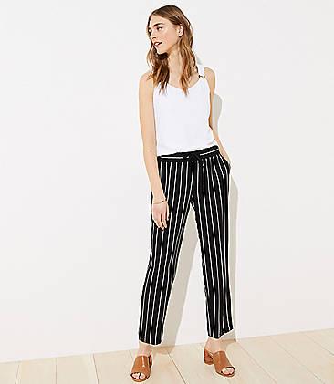 로프트 LOFT Striped Tapered Drawstring Pants,Black/White Multi