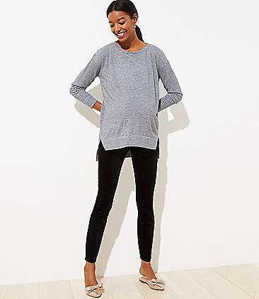 로프트 LOFT Maternity Velvet Skinny Pants,Black