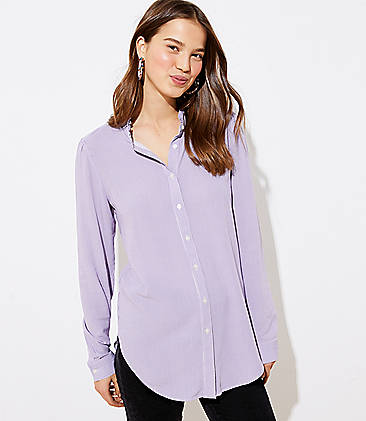 로프트 LOFT Striped Ruffle Neck Shirt,Purple Haze