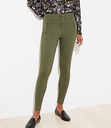 로프트 바지 LOFT High Waist Skinny Sateen Pants,Forestwood