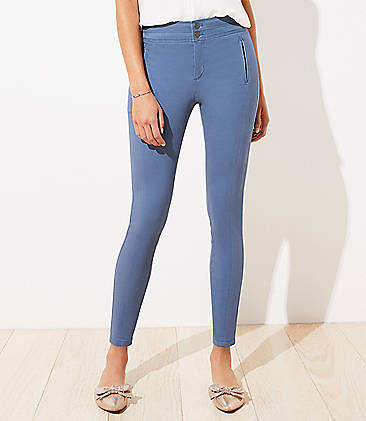 로프트 바지 LOFT High Waist Skinny Sateen Pants,Moody Blue