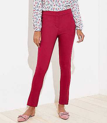 로프트 스키니 앵클 팬츠 LOFT High Waist Zip Pocket Skinny Ankle Pants in Curvy Fit,Beet Red