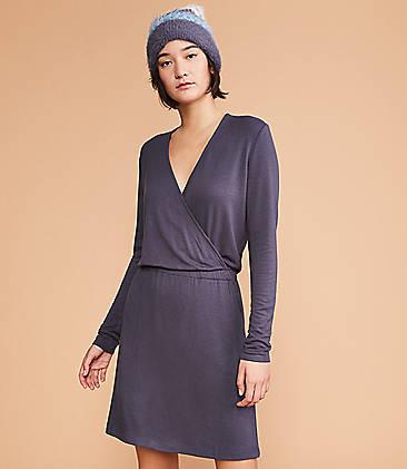 로프트 LOFT Lou & Grey Signaturesoft Crossover Pocket Dress,Coastal Grey