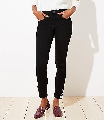 로프트 LOFT Curvy Snap Hem Slim Pocket Skinny Jeans in Black,Black