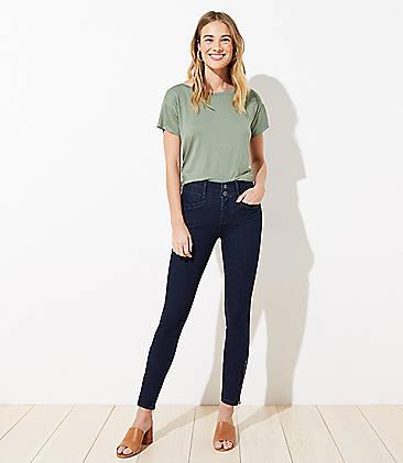 로프트 LOFT Ankle Zip Slim Pocket Skinny Jeans in Refined Dark Indigo Wash,Refined Dark Indigo Wash