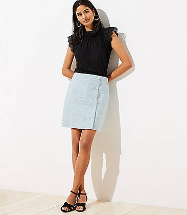 로프트 스커트 LOFT Linen Blend Side Button Shift Skirt,Aqua Cloud