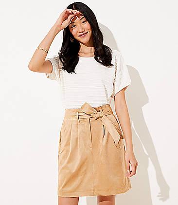 로프트 LOFT Faux Suede Tie Waist Pocket Skirt,Desert Beige