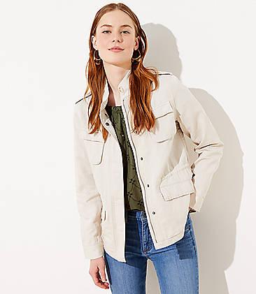 로프트 LOFT Twill Utility Jacket,Pure Linen