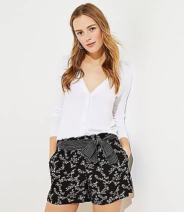 로프트 LOFT Rainforest Tie Waist Shorts,Black/White Multi