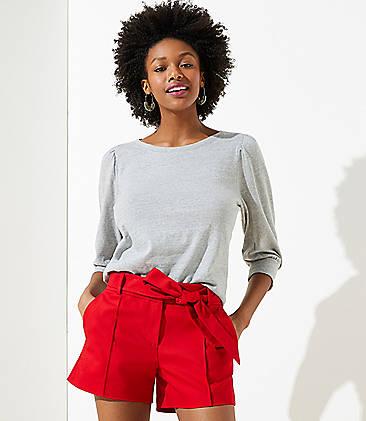 로프트 LOFT Tie Waist Shorts,Bright Crimson